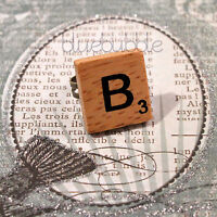 FUNKY WOODEN VINTAGE SCRABBLE STYLE BRASS RING CUTE KITSCH INITIAL LETTER BOHO