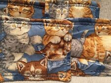Handmade Cats Fabric Coasters Kitty Kitten Vintage Set Of Four