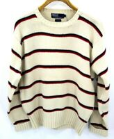 VINTAGE Polo Ralph Lauren Red Ivory Blue Stripe Long Sleeve Sweater Mens Large