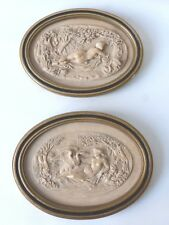 Paire De Médaillons En Bas Relief, Calcaire Sculpté, Scène Mythologiques, XX ème