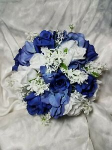 Blue & White round bouquet. Roses & Lilacs. 24pc set wedding flowers