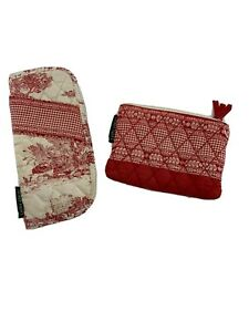 Set of 2 Laura Ashley Coin Purse Zippered Wallet and Eyeglass Holder Shabby Chic