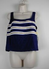 NEW w/Tags  LONGITUDE Women's Swimsuit TOP Plus Sz 22W Padded Bra Navy Blue Gold