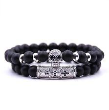 baa54782325a Pulsera 2er-set unisex señores piedra pómez perlas Skull flexible negro  plata