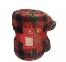 Ralph Lauren Throw Blanket Red Plaid Holiday Christmas Fleece Plush 60 x 70 New