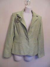 Kaliko UK8 EU36 US4 green tweed virgin wool/silk-blend long-sleeved lined jacket