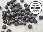 "60 x 6mm Round Natural Lava Rock Black Beads 15"" Strand Gemstone Stone Bead"