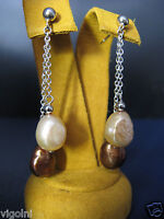 HONORA PEARL EARRINGS BROWN BAROQUE DOUBLE CHAIN SILVER Gift