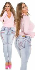 Curvy Girls Koucla Push Up Jeanshose Skinny Jeans Hose mit Zips