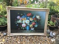 Stunning  Antique/French style Large Swept Picture Frame & Flower Oil  #6172
