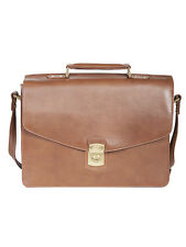Scully H282 Hidesign Brown Flap Over Laptop Briefcase