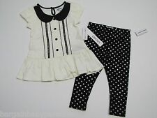 NWT DKNY 2 PC Set  GIRL Black & White Top and Pants $44 24 Months