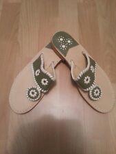 NEW Jack Rogers Navajo Women's Sandals Olive Green & Bone Sz 11M