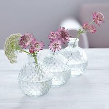 Gisela Graham Set Of 3 Clear Glass Faceted Mini Ball Vase 5x7.5cm