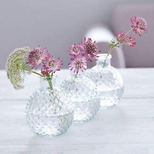 Gisela Graham Set Of 3 Clear Glass Faceted Mini Ball Vase 5x7.5cm