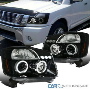 For Nissan 04-15 Titan 04-07 Armada Pearl Black LED Halo Projector Headlights