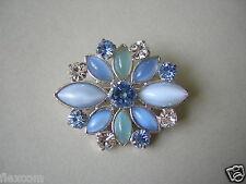 Strass Katzenauge Brosche Modeschmuck Blautöne Blau 3,3 x 2,8 cm / 7,2 g