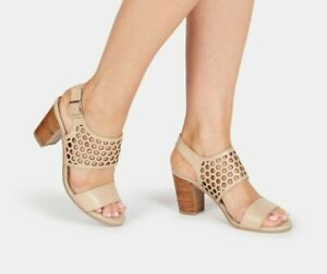 👠New SANDLER Benson Size 7.5B / 38B Nude LEATHER Heeled Sandals / Shoes RRP$160