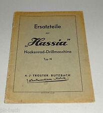 Teilekatalog / Ersatzteilliste Hassia Nockenrad Drillmaschine Typ N Stand 4/1952