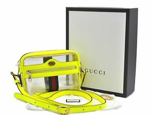 Auth GUCCI OPHIDIA Shoulder Cross Body Bag Vinyl Leather Clear Yellow Box E0765