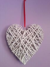 Decoration Large 37cm Willow Woven Hanging Heart - White