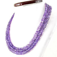 505.00 Cts Natural Purple Amethyst Round Shape Untreated Beads 3 Strand Necklace