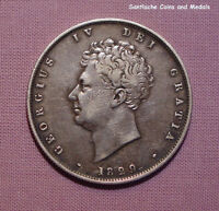 1829 KING GEORGE IV SILVER HALFCROWN - 3rd Rev. Bare Head - Scarce Date