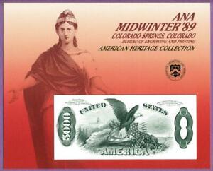 BEP 1989 ANA Colorado Spgs B124 Souvenir Card 1878 $5000 Legal Tender Note Rev.