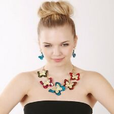 Chunky 18K Gold Plated Multi Color Fluttering Butterfly Statement  Necklace Set