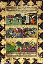 Vintage Persian MiniatureHandmade Painting Dragon deer Tiger  Islamic WaterColor