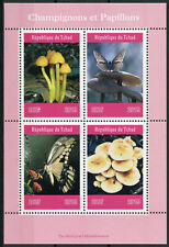 Chad 2019 MNH Mushrooms & Butterflies 4v M/S Butterfly Fungi Nature Stamps