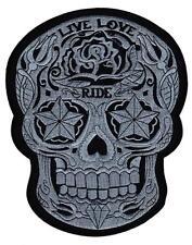 #31 Live Love Ride Biker Totenkopf Kutte Backpatch Rückenaufnäher XXL 20 x 25 cm
