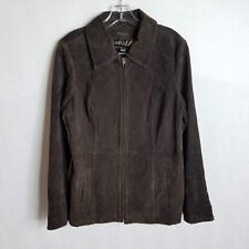 Dennis Basso Womens Brown Full Zip Suede Leather Jacket Size Medium CL01