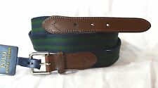 Polo Ralph Lauren Belt Cloth & Leather Belt Green Navy Stripe SIZE 38 NWT
