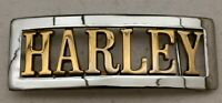 "HARLEY DAVIDSON ""HARLEY"" CHROME AND GOLD COLORED BELT BUCKLE BRAND NEW"