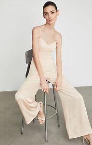 BCBG MAXAZRIA Sleeveless Strappy Jumpsuit M Pink Retro Wide Legs Pleated $328