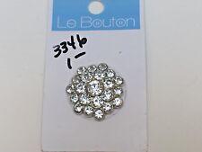 "Le Bouton Metal & Rhinestone Button Silver Tone Metal Shank on Card 1 1/8"""