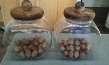 "Lot of 2 VINTAGE HEAVY APOTHECARY JARS with wooden lids approx. 6 1/2"" x 6 1/2"""