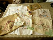 VINTAGE HAND EMBROIDERED LINENS X 8 PIECES  OF BEAUTIFUL CRINOLINE LADIES
