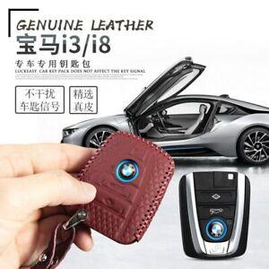 Leather Key Cover Car Key Fob Bag Case Wallet Holder for BMW I3 I8 2014-2018