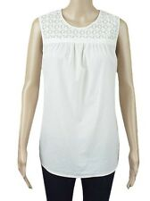 """WOMENS LADIES """"EX M&S"""" PURE COTTON LACE YOKE SLEEVE LESS TOPS TUNIC STYLE TOP"""