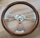 18 Abs Wood Steering Wheel Chrome 4 Spoke Freightliner Kenworth Peterbilt Volvo