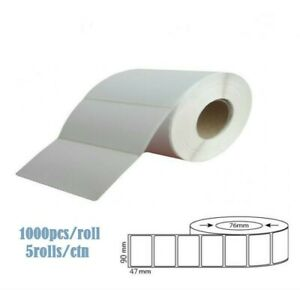 White Blank Thermal Transfer Labels Rolls Stickers 90 x 47mm 5000pcs