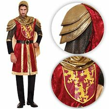 Adulto para Hombre Disfraz Medieval Crusader Knight Red Royal Armour Arthur Rey Dragón