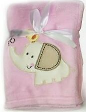 Luxury Soft Fleece Baby Blanket With Elephant Applique 75 X 100cm for Babies Fro