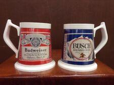 Vintage Budweiser and Busch Wide Plastic Beer Mugs