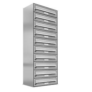10er Premium Edelstahl Briefkasten Anlage für Außen Wand Design Postkasten 1x10