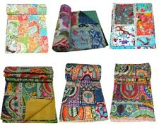 Indian Multi Patch Reversible Kantha Quilt Handmade Bedspread Twin Queen Throw