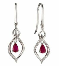 9ct White Gold Open Marquise Ruby & Diamond Earrings White Gold GE2190R