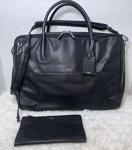 Tumi Briefcase Business Handbag Messenger Crossbody Pebbled Leather Laptop Bag
